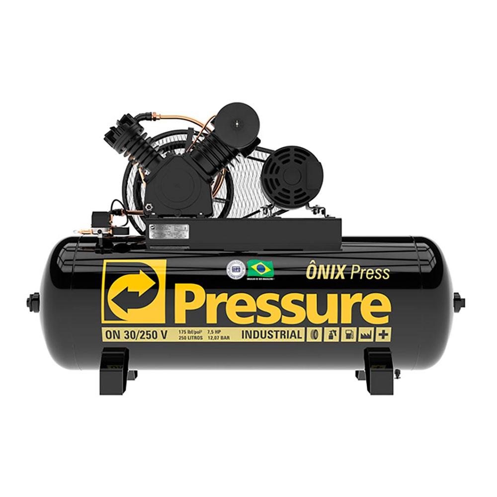 Compressor de Ar 30 Pés 250 Litros 175 Libras Mod. ONIX PRESS - Pressure