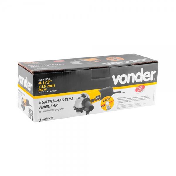Esmerilhadeira Angular 4.1/2 pol 650W c/ Disco Mod. EAV650 - Vonder