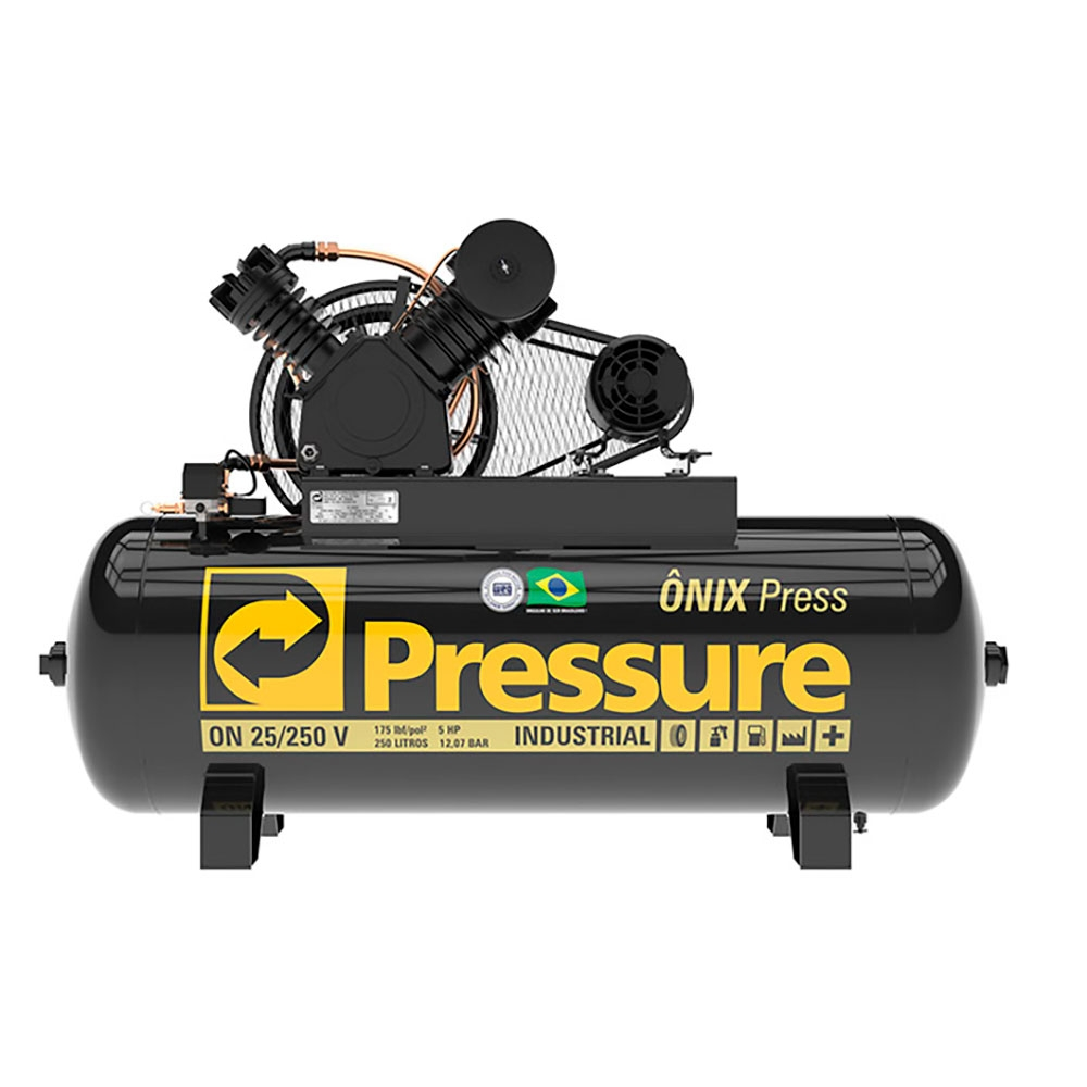 Compressor de Ar 25 Pés 250 Litros 175 Libras Mod. ONIX PRESS - Pressure - (Ref: ON25250VT)